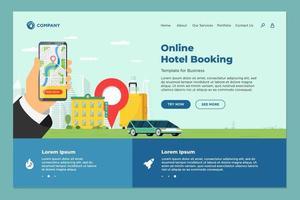 hotel online boekingsservice voor bestemmingspagina-sjabloon voor vakantietoerisme. reizen appartement vervoer reservering webdesign. motel koffer en locatie pin en hand met smartphone eps illustratie vector