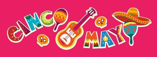 cinco de mayo-viering in mexico. 5 mei, vakantie in Latijns-Amerika. kleurrijk, gedetailleerd, veel objecten achtergrond. vector sjabloon met traditionele Mexicaanse symbolen schedel, gitaar, bloemen, rode peper