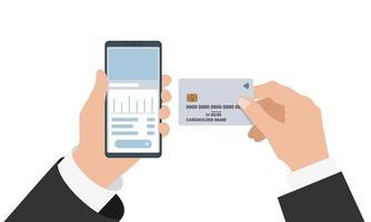 zakenman hand met smartphone met online bankieren mobiele app en creditcard. koop betalingsproces en bankrekening saldo platte vectorillustratie