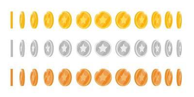goud zilver brons 3d munt draai rond verschillende posities ingesteld voor game of apps-animatie. bingo jackpot casino poker win rotatie-elementen. contant geld schat concept geïsoleerd plat eps vector illustratie