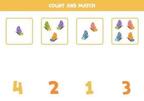 tellen spel met vlinders. wiskunde werkblad.