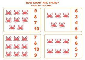 wiskundespel met schattige cartoonkrabben tellen. vector