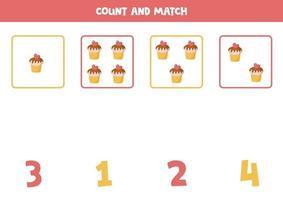 tellen spel voor kinderen. wiskundig spel met cartoon cupcakes.