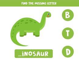 vind ontbrekende letter met dinosaurus. spelling werkblad. vector