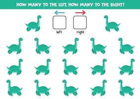 links of rechts met schattige dinosaurus. logisch werkblad voor kleuters.