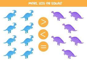 meer, minder, gelijk aan schattige dinosaurussen. wiskunde spel.