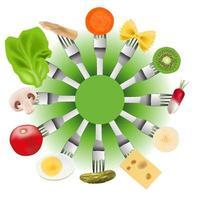 presentatie van vegetarisch voedsel op vorken vector