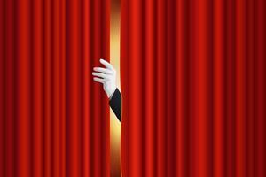 opening van het gordijn van een podium vector