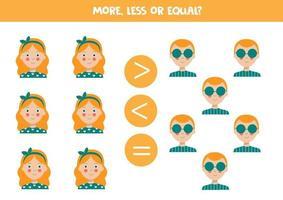 meer, minder, gelijk aan schattige cartoonmeisjes en jongens. vector