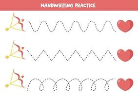 traceerlijnen met valentijnselementen. teken de lijnen met pijl en hart. vector