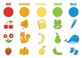 verzameling primaire kleuren. kleuren leren. kleurrijke voorwerpen en dieren. vector