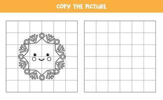 kopieer de afbeelding. schattige kawaii sneeuwvlok. logisch spel voor kinderen. vector