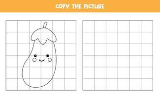 kopieer de afbeelding. schattige kawaii aubergine. logisch spel voor kinderen. vector