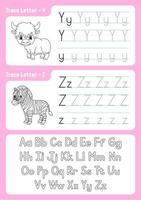 brieven schrijven y, z. tracing pagina. werkblad voor kinderen. oefenblad. leer alfabet. schattige karakters. vector illustratie. cartoon stijl.