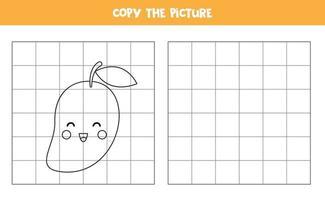 kopieer de afbeelding. cute cartoon mango fruit. logisch spel voor kinderen. vector