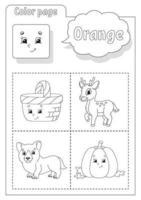 kleurboek oranje. kleuren leren. flashcard voor kinderen. stripfiguren. foto set voor kleuters. onderwijs werkblad. vector illustratie.