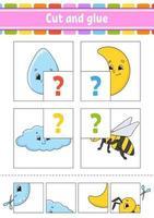 knip en lijm. set flitskaarten. kleur puzzel. onderwijs ontwikkelend werkblad. activiteitenpagina. spel voor kinderen. grappig karakter. geïsoleerde vectorillustratie. cartoon stijl.