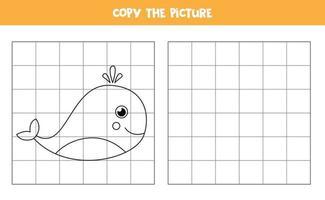 kopieer de afbeelding. blauwe vinvis. logisch spel voor kinderen. vector