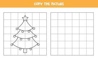 kopieer de afbeelding. cartoon dennenboom. logisch spel voor kinderen.