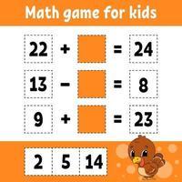 wiskunde spel voor kinderen kalkoen. onderwijs ontwikkelend werkblad. activiteitenpagina met afbeeldingen. spel voor kinderen. kleur geïsoleerde vectorillustratie. grappig karakter. cartoon stijl.