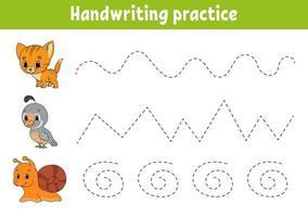 handschriftpactice cat. onderwijs ontwikkelend werkblad. activiteitenpagina. kleurenspel voor kinderen. geïsoleerde vectorillustratie. stripfiguur.