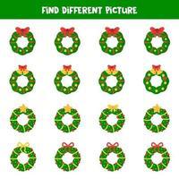 vind in elke rij verschillende kerstkransen.