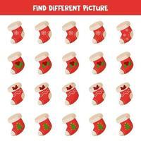 vind een kerstsok die anders is dan andere in een rij.