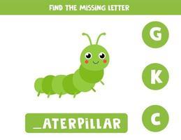 zoek ontbrekende letter. kartonnen rups illustratie. logisch spel. vector