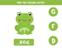 zoek ontbrekende letter. kartonnen kikker illustratie. logisch spel.