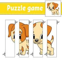 puzzelspel voor kinderen met hond. snijden praktijk. onderwijs ontwikkelend werkblad. activiteitenpagina. stripfiguur.