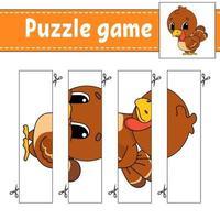 puzzelspel voor kinderen met kalkoen. snijden praktijk. onderwijs ontwikkelend werkblad. activiteitenpagina. stripfiguur.