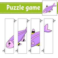 puzzelspel voor kinderen met vis. snijden praktijk. onderwijs ontwikkelend werkblad. activiteitenpagina. stripfiguur.