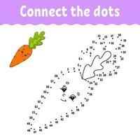 stip om spel met wortel te stippelen. teken een lijn. voor kinderen. activiteit werkblad. kleurboek. met antwoord. stripfiguur. vector illustratie.