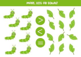 meer, minder, gelijk aan groene insectenrups. rekenspel voor kinderen.
