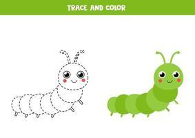 traceer en kleur schattige rups. traceerlijnen. vector