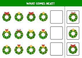 welke kerstkrans komt er daarna. logisch werkblad voor kinderen.