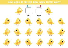 links of rechts met kip. logisch werkblad voor kleuters. vector