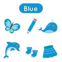blauwe kleur leren voor kleuters. grappige flashcard.