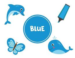 blauwe kleur leren voor kleuters. educatief werkblad.
