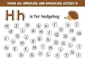 alfabet werkblad. vind alle letters hh. puntletters.