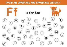 zoek en kleur alle letters f. alfabet spelletjes voor kinderen.