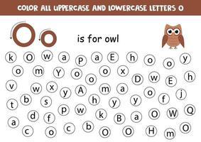 zoek en kleur alle letters o. alfabet spelletjes voor kinderen. vector