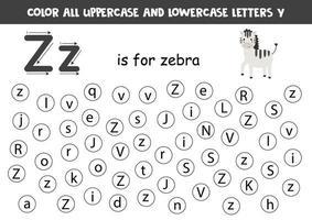 zoek en kleur alle letters z. alfabet spelletjes voor kinderen.