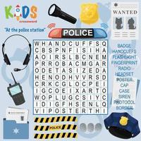 op het politiebureau woordzoeker kruiswoordraadsel vector