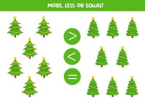 vergelijking van getallen met cartoon kerstboom. vector