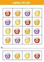 sudoku met schattige potjes kleurrijke en smakelijke jam. vector
