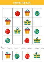 Sudoku-puzzelspel voor kleuters met kerstballen en cadeautjes.