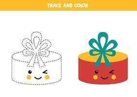 tracing werkblad voor kinderen. kleur schattig geschenkdoosje.