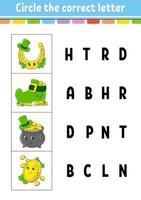 omcirkel het huiswerk met de juiste letter vector