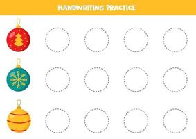 schrijfvaardigheid oefenen. lijnen met kerstballen traceren. vector
